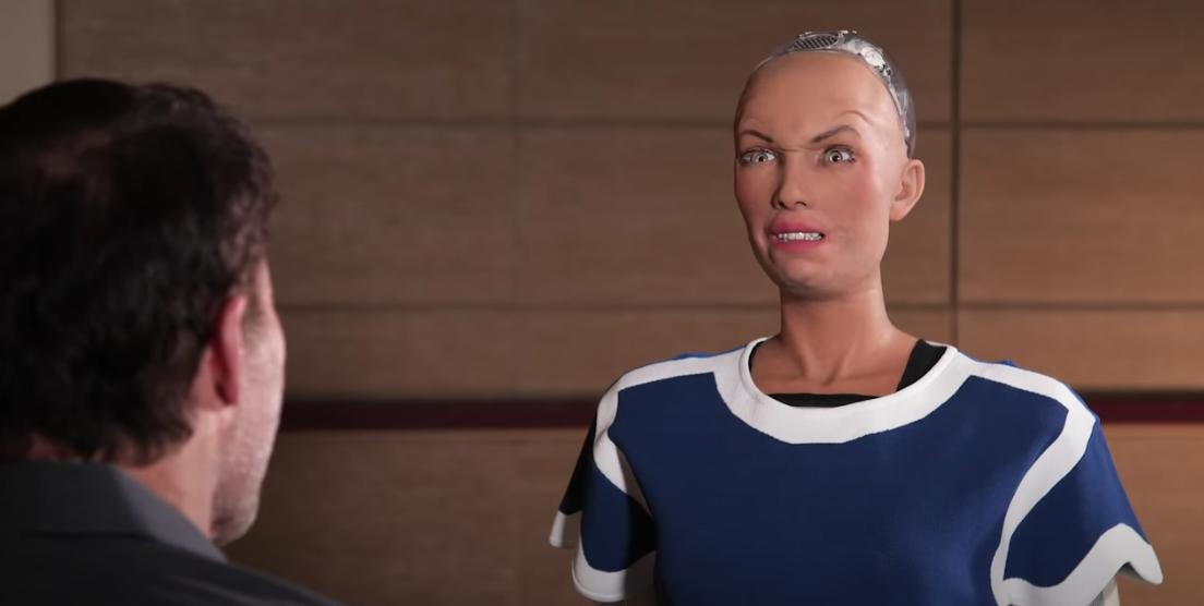AI Sophia displays anger through artificial facial muscles