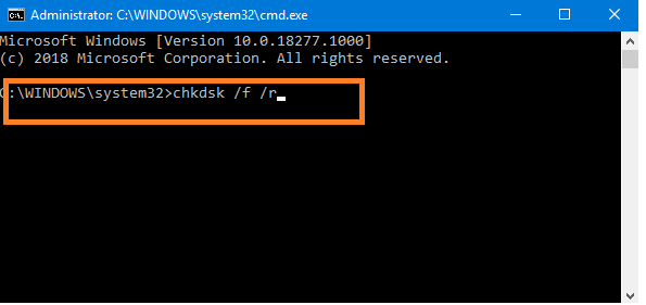 Perform Chkdsk command