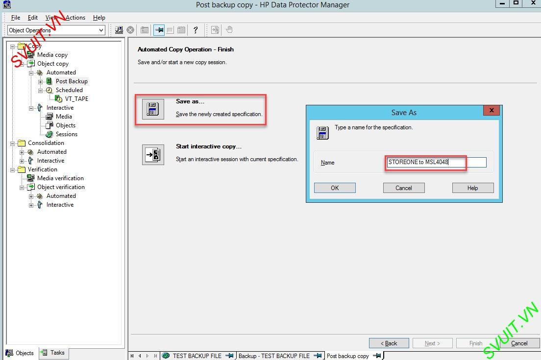 configure Object Copy Session - HP Data Protector (7)