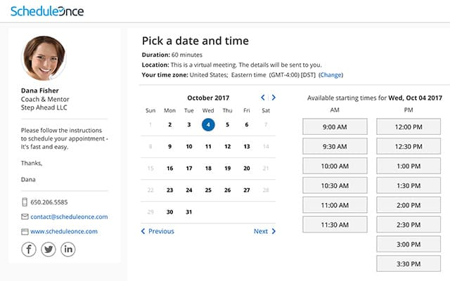 Schedule Once schedulign app interface featuring a calendar, time table, and contact information