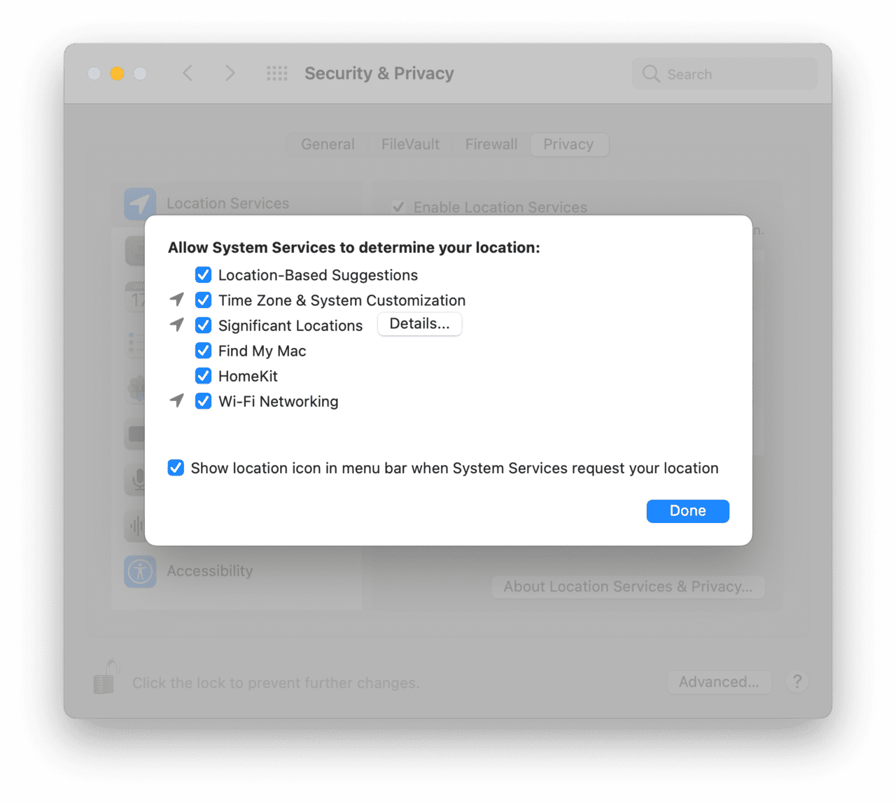 Manage location services on your Mac