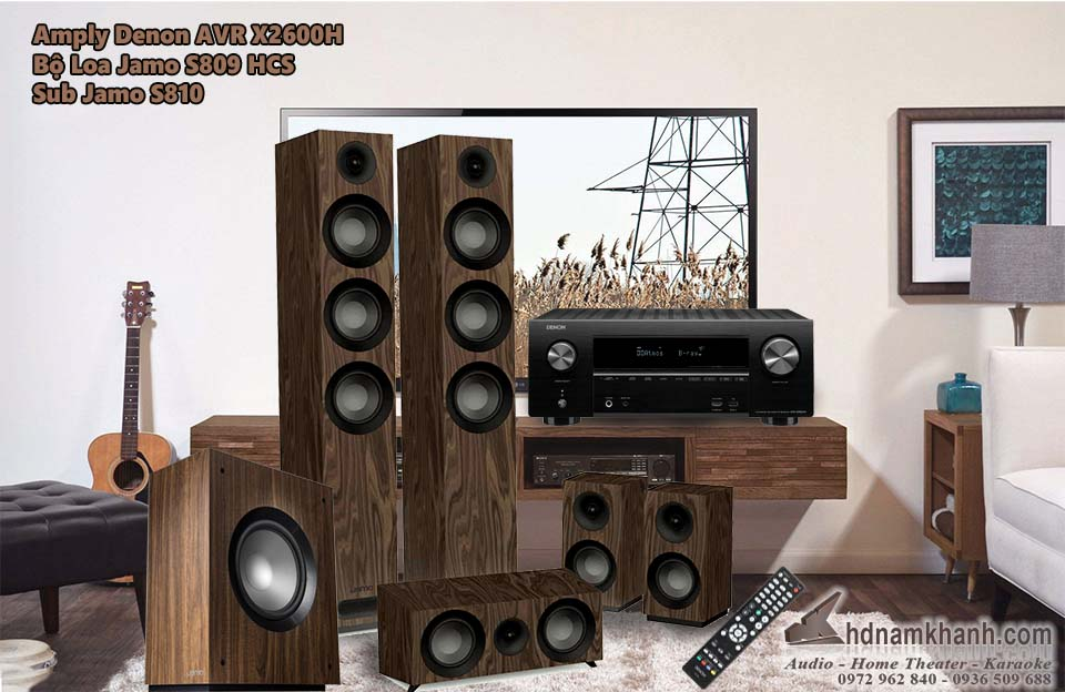 Bộ 5.1 Amply Denon X2600H + Loa Jamo S809 HCS, Sub Jamo S810 - 1