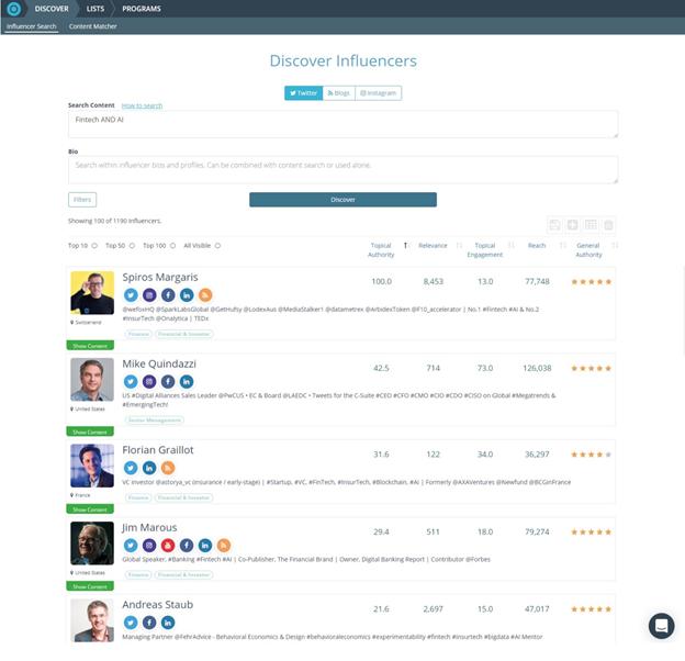 onanalytica influencer marketing platforms