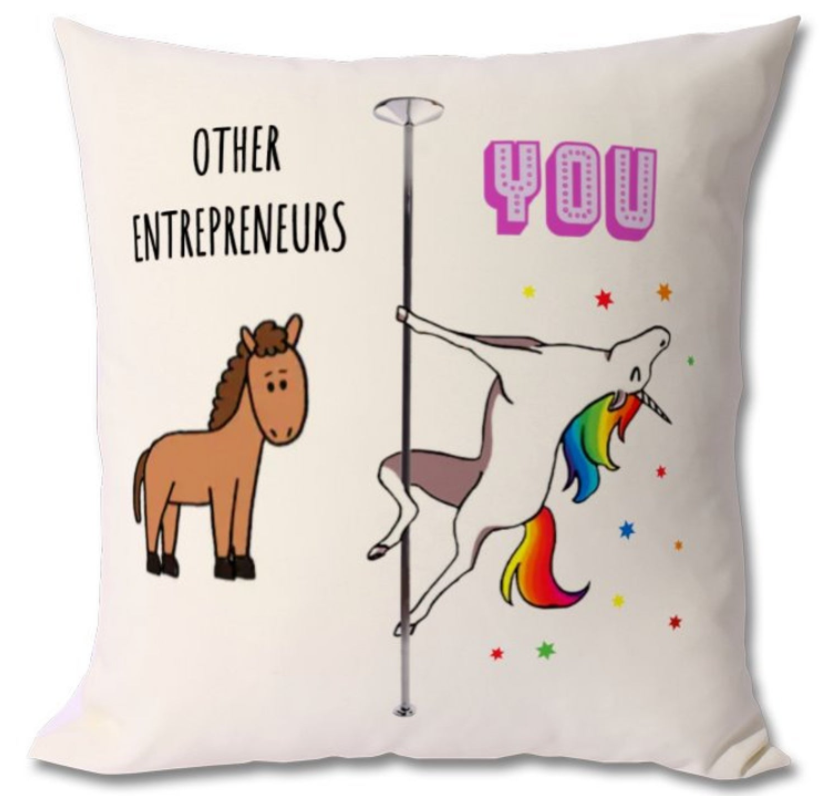 funny entrepreneur pillow gift idea with unicorn dancing
