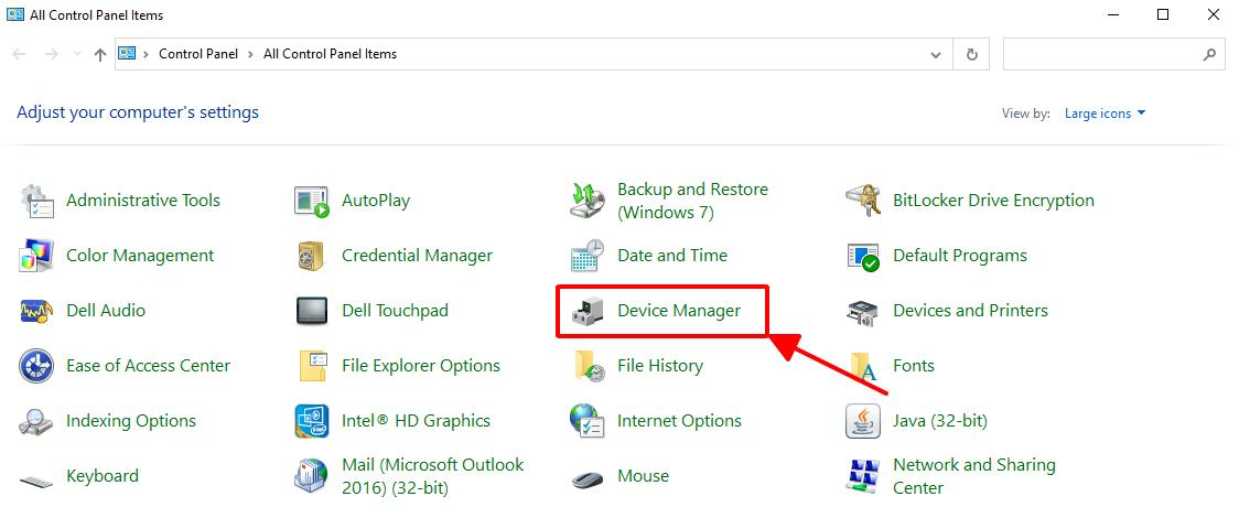 mở cửa sổ device manager