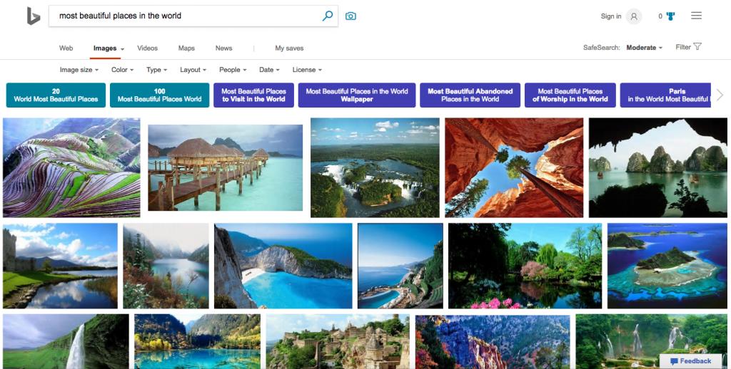 Kết quả tìm kiếm hình ảnh trên Bing