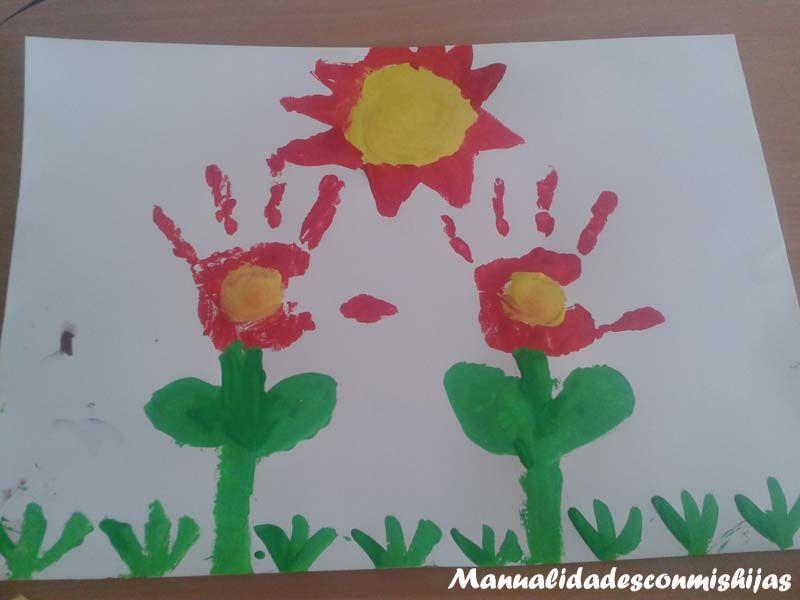 Retofacilisimo: Flores con huellas de la mano y pintura ...