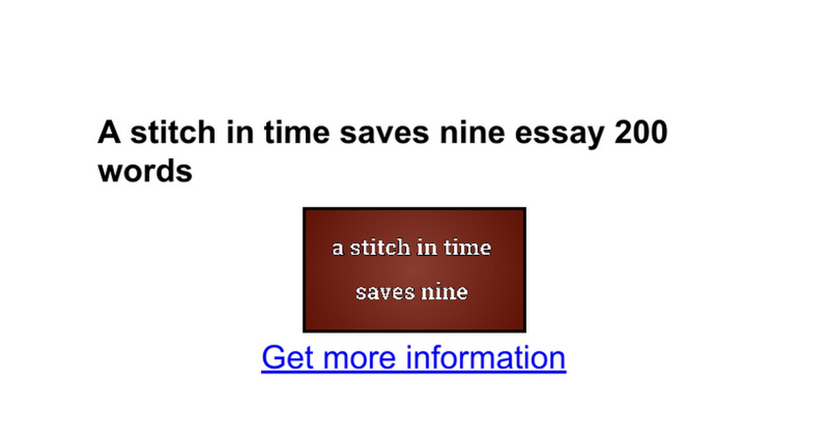 a stitch in time saves nine essay words google docs