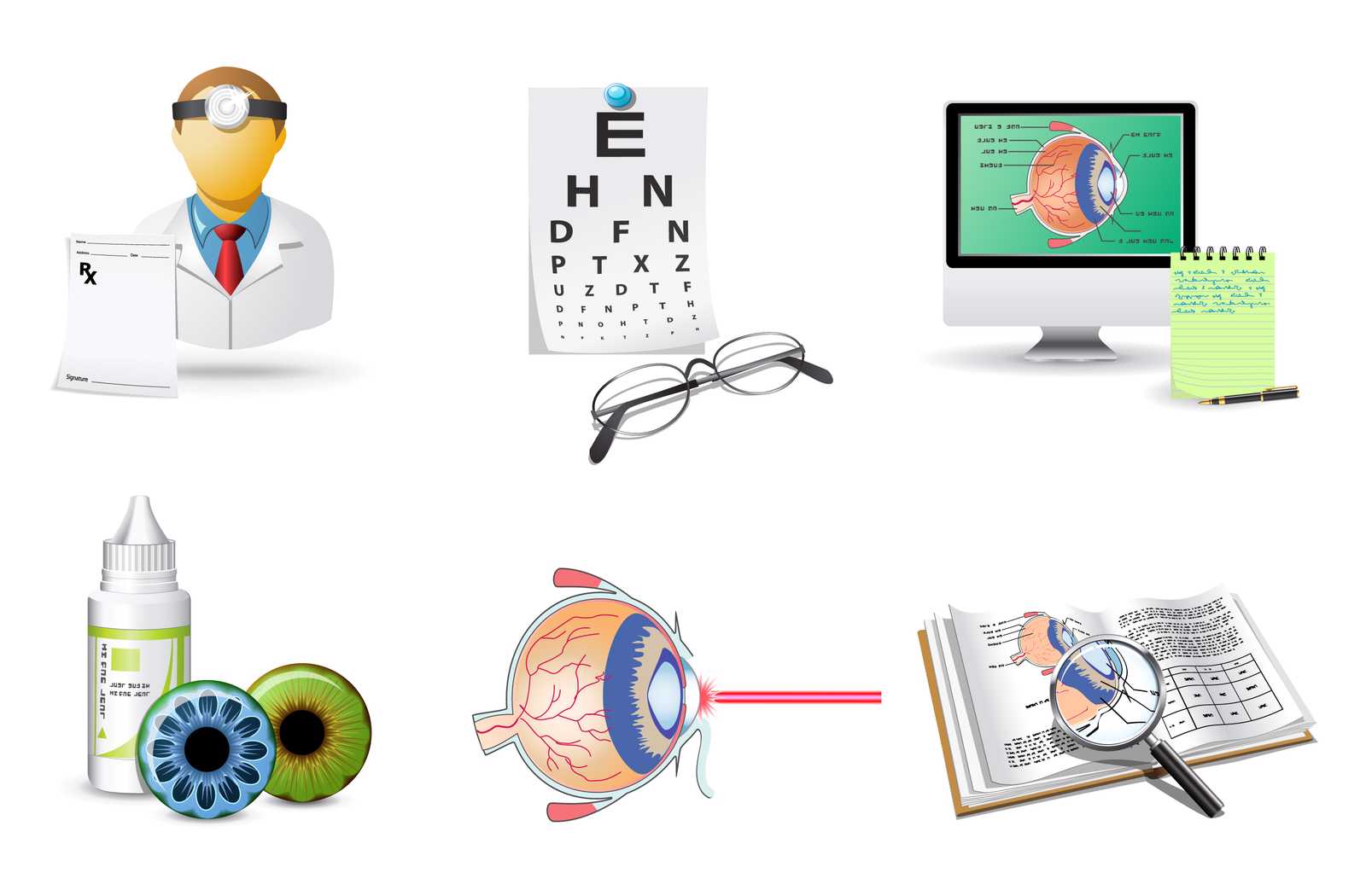 illustration of systematic prescription eye drop treatment from eye doctor.