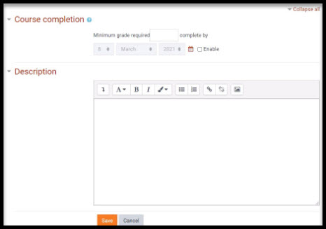 Screenshot of Course completion options