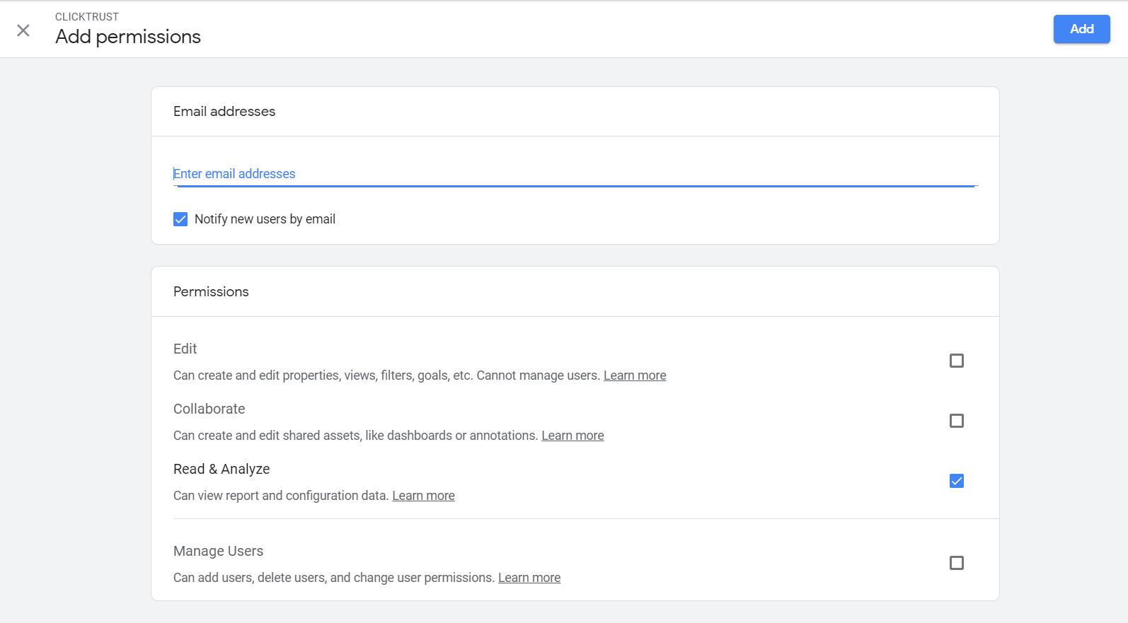 permissions in Google Anlaytics