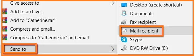 Resize images by using Mail Recipient