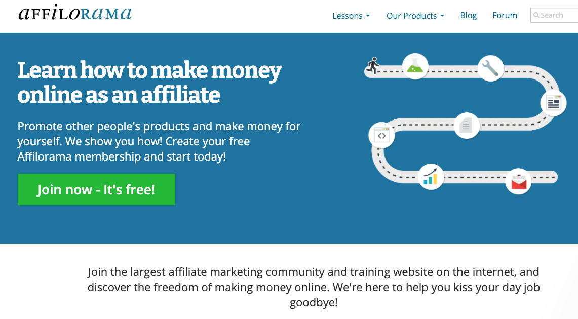 affiliate marketing community affilorama, asking visitors to join and learn how to make money online