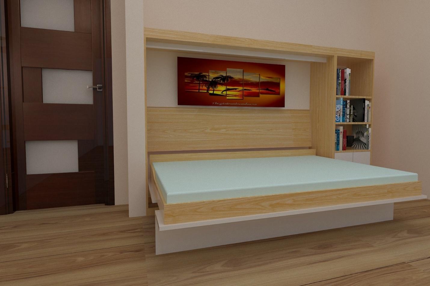 Giường gấp thông minh kết hợp nhiều tiện ích khác nhau