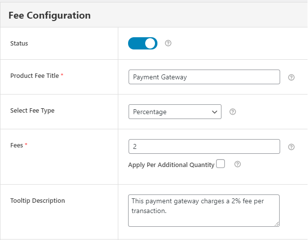 Adding payment Gateway fee details in fee configuration form in Extra Fees Plugin