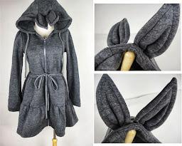 hitam,abu-abu muda, abu-abu tua,Bunny Zip, fleece, Hoodie, hoodie korea murah, korea, murah, warna, Pre Order, fashion korea, hoodie lucu