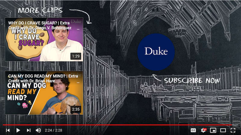 Example of an end screen from a Duke YouTube video