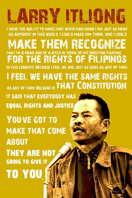 Image description: A poster of Larry Itliong that includes one of his quotes.