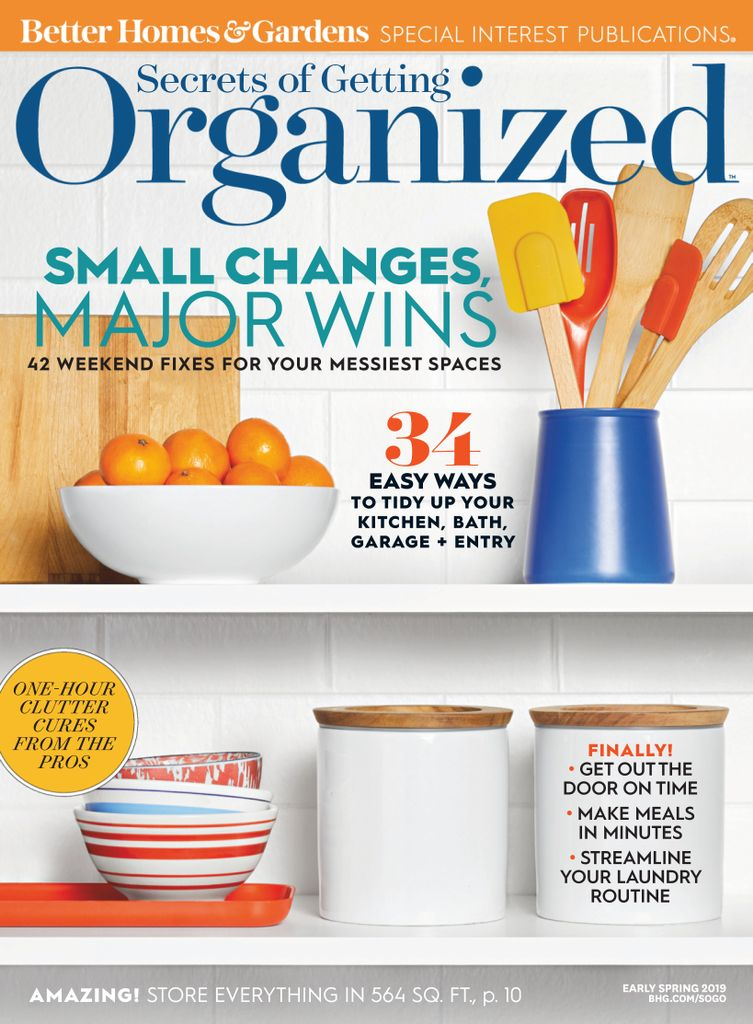 Image of magazine cover, Better Homes and Gardens - Organized Edition. Access it on RBdigital.