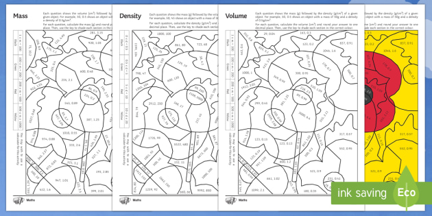 Mass, Density and Volume Colour by Numbers Pack