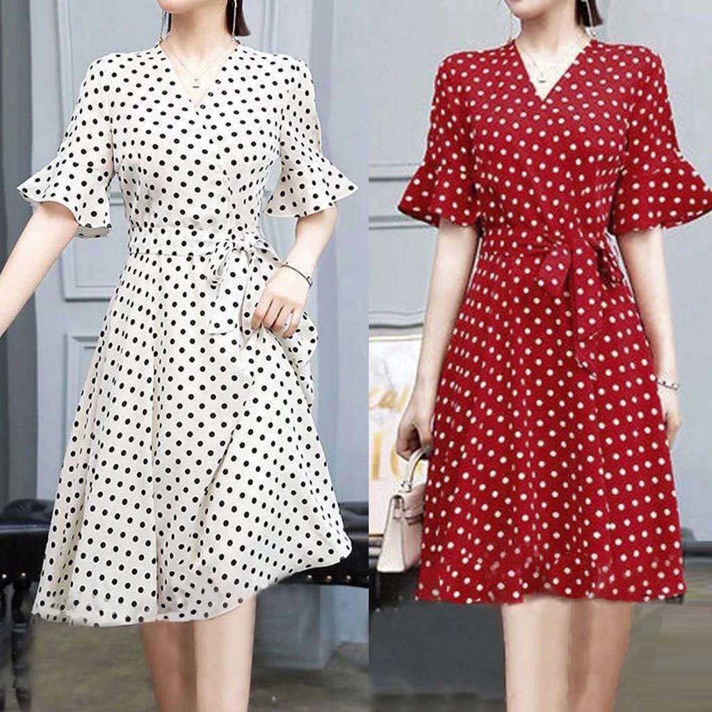 A line Dress Women 2020 Summer Dress Casual Cotton Ladies Elegant Dot Point  V neck Dress Short Sleeve Breathable Fabrics P3|Dresses| - AliExpress