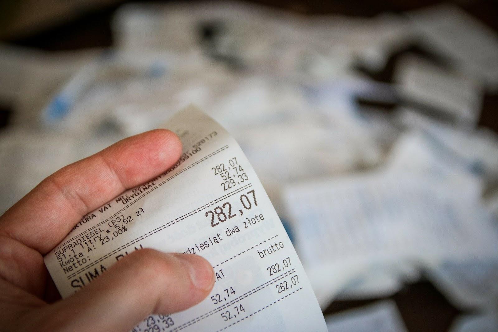 Nota fiscal de uma compra que será utilizada para pedir reembolso