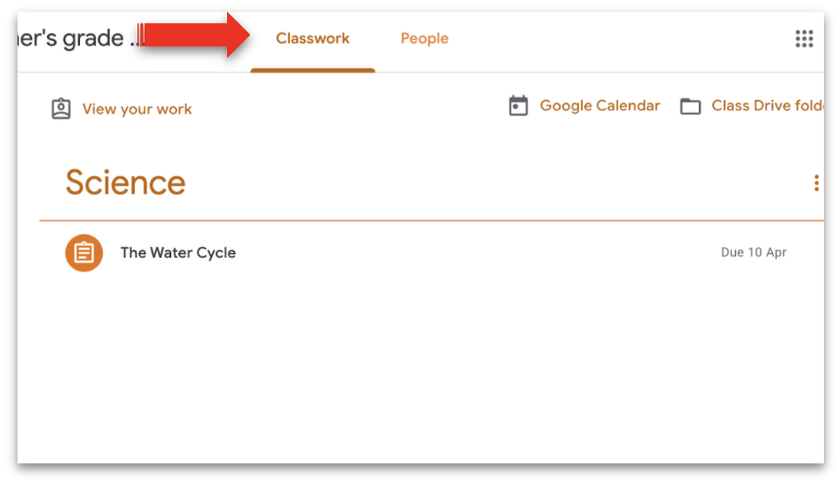 Screenshot of Google Classroom with a red arrow pointing to the Classwork tab.