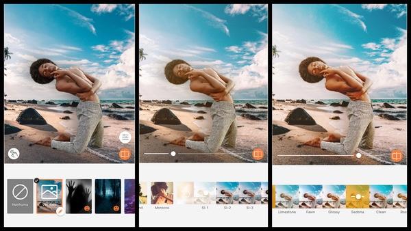 foto de um homem negro posando na praia  sendo editada pelo AirBrush