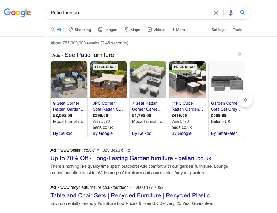 image of google search engine results page