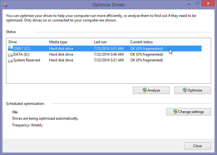 Auto defragmentation in Windows 8