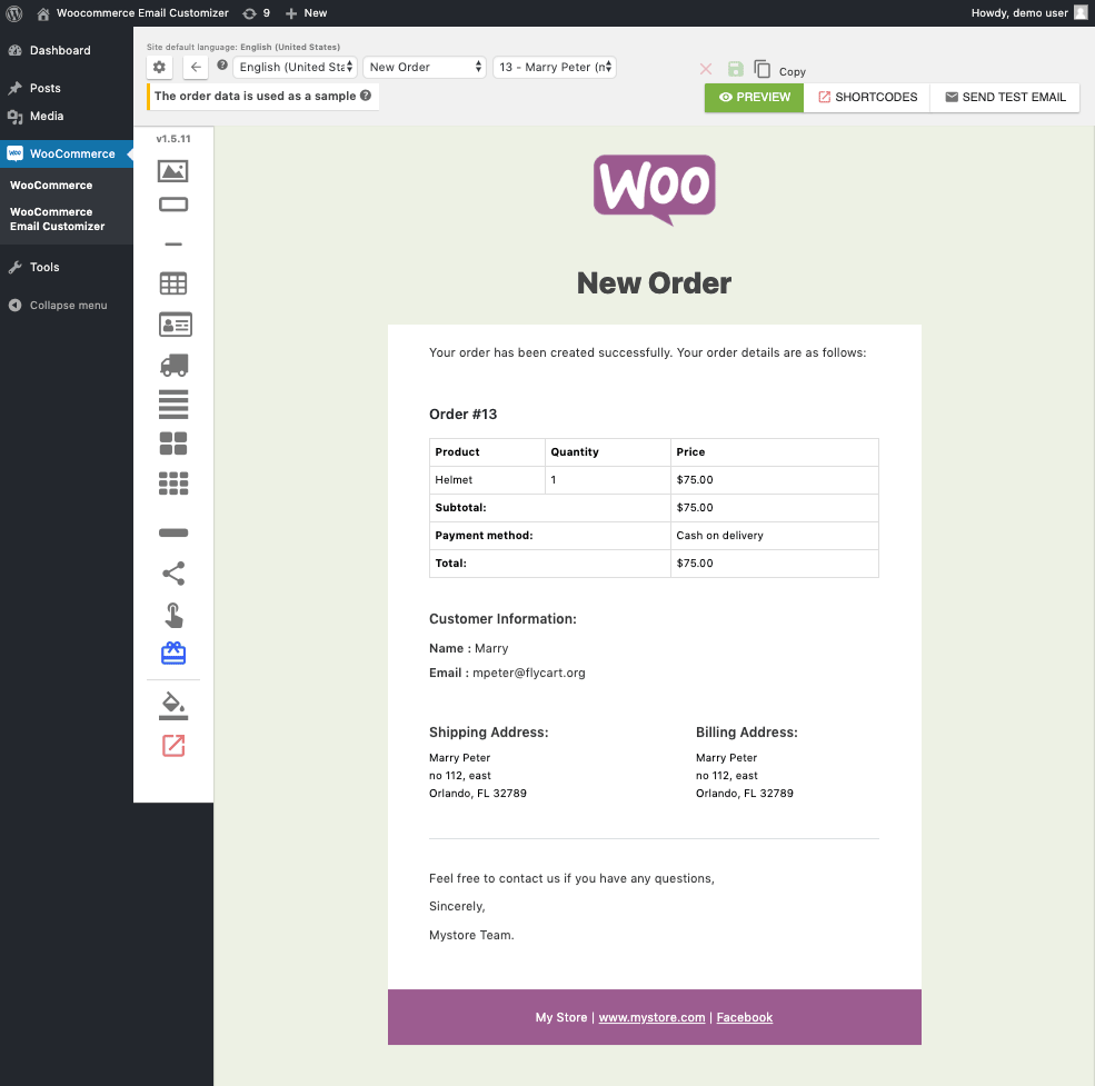 Email builder in Email Customizer for WooCommerce with Drag and Drop Email Builder plugin