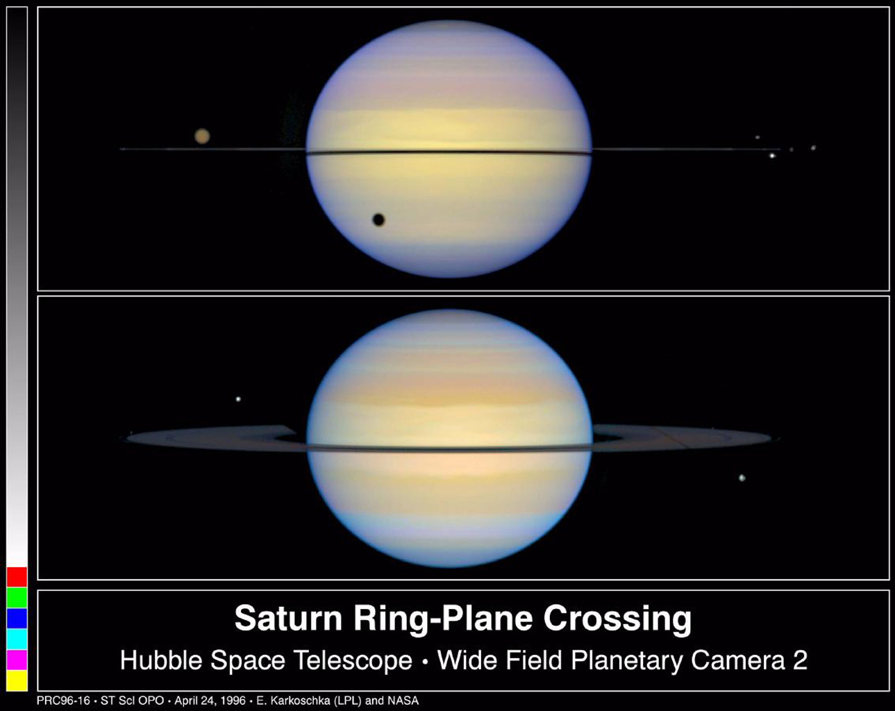 Hubble images of Saturn's rings edge-on