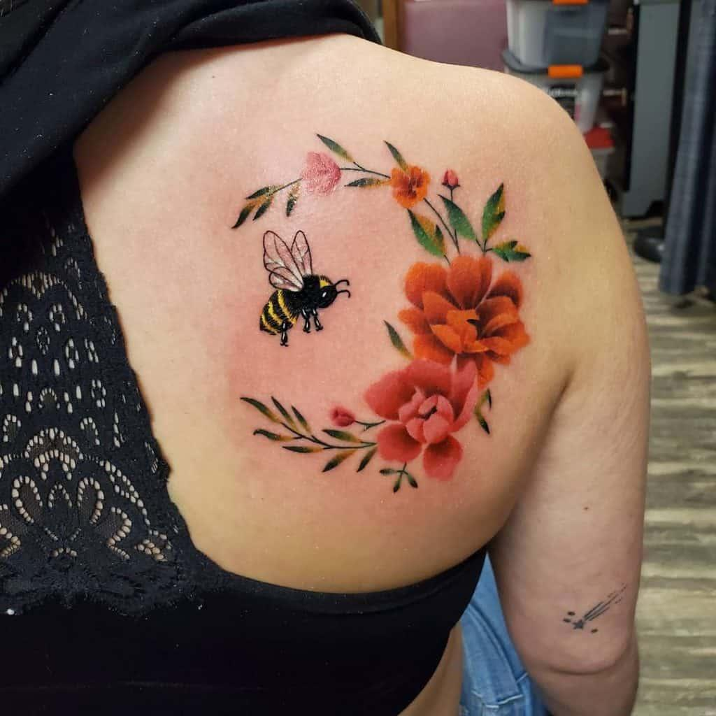 Flowers and Bee Tattoos