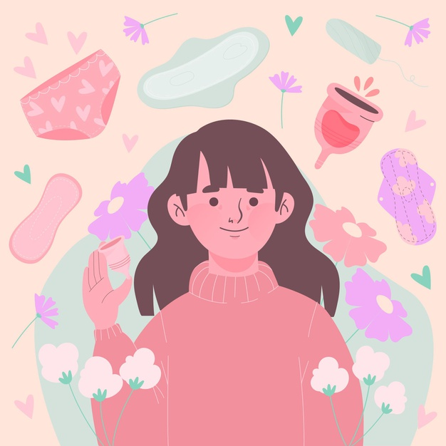 A graphic illustration of a girl surrounded by menstrual cups tampon and sanitary pads while holding a menstrual cup