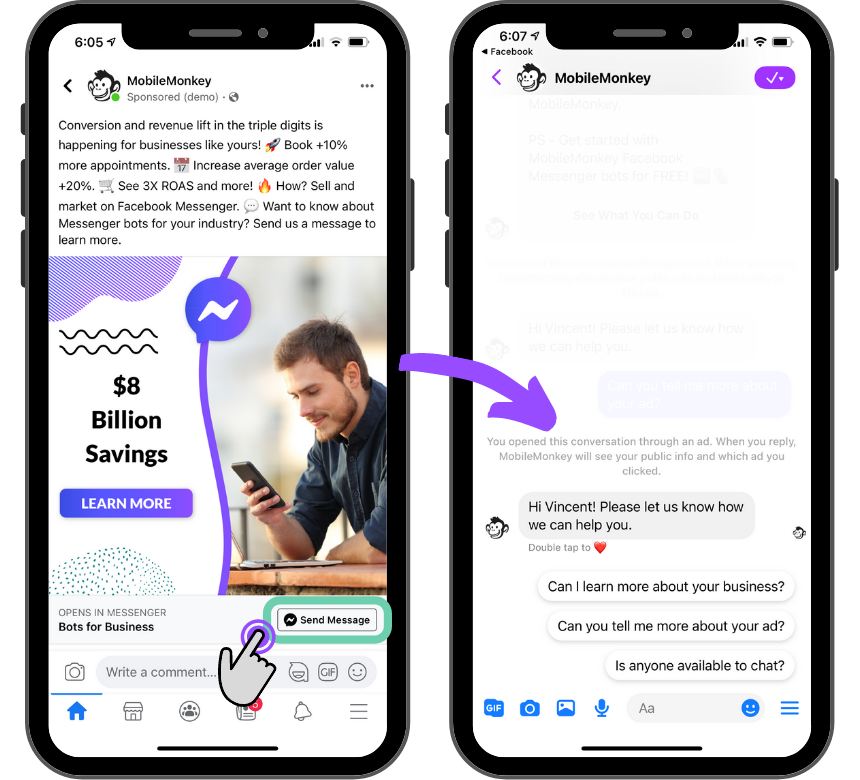 click-to-Messenger ad example