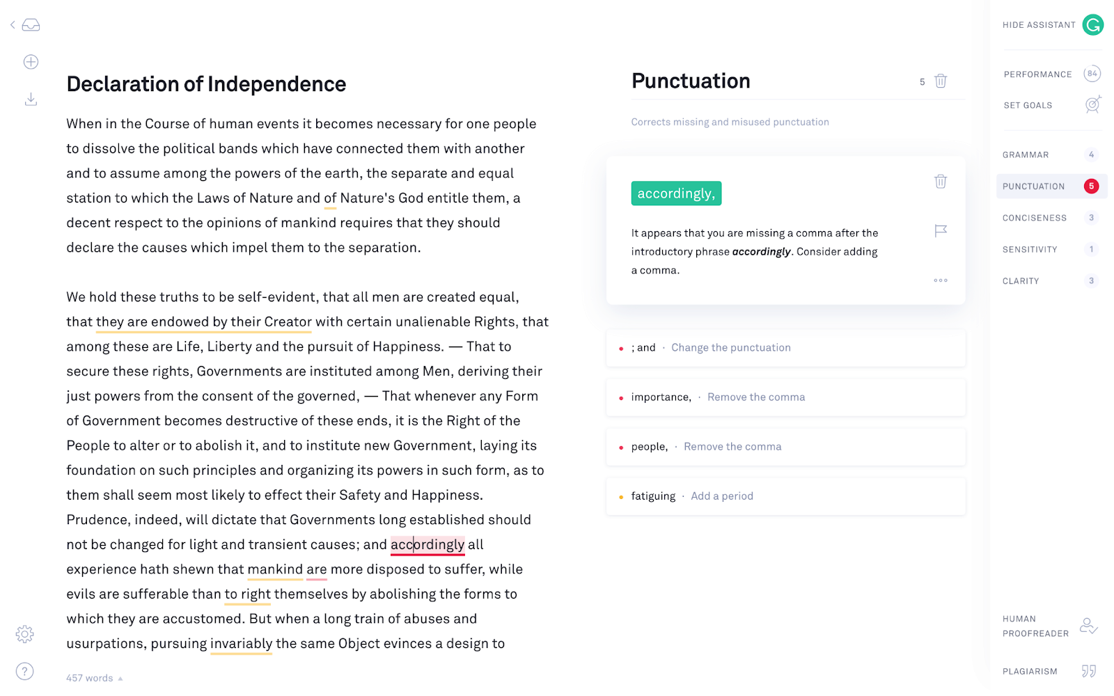 Grammarly app interface for spelling and grammar