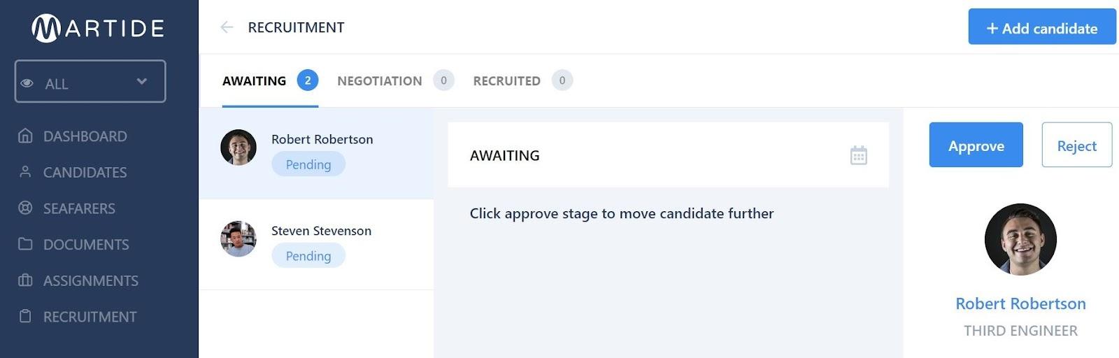 screenshot of a candidate pipeline