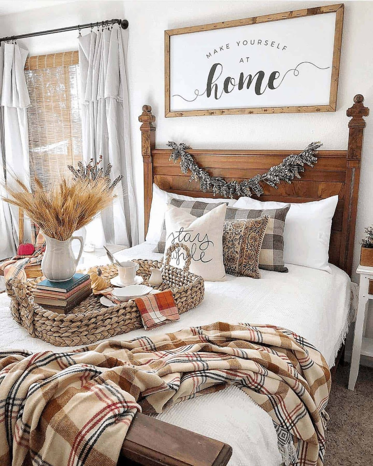 Fall bedroom decor bedroom setting with beautiful fall colors and cozy blankets.