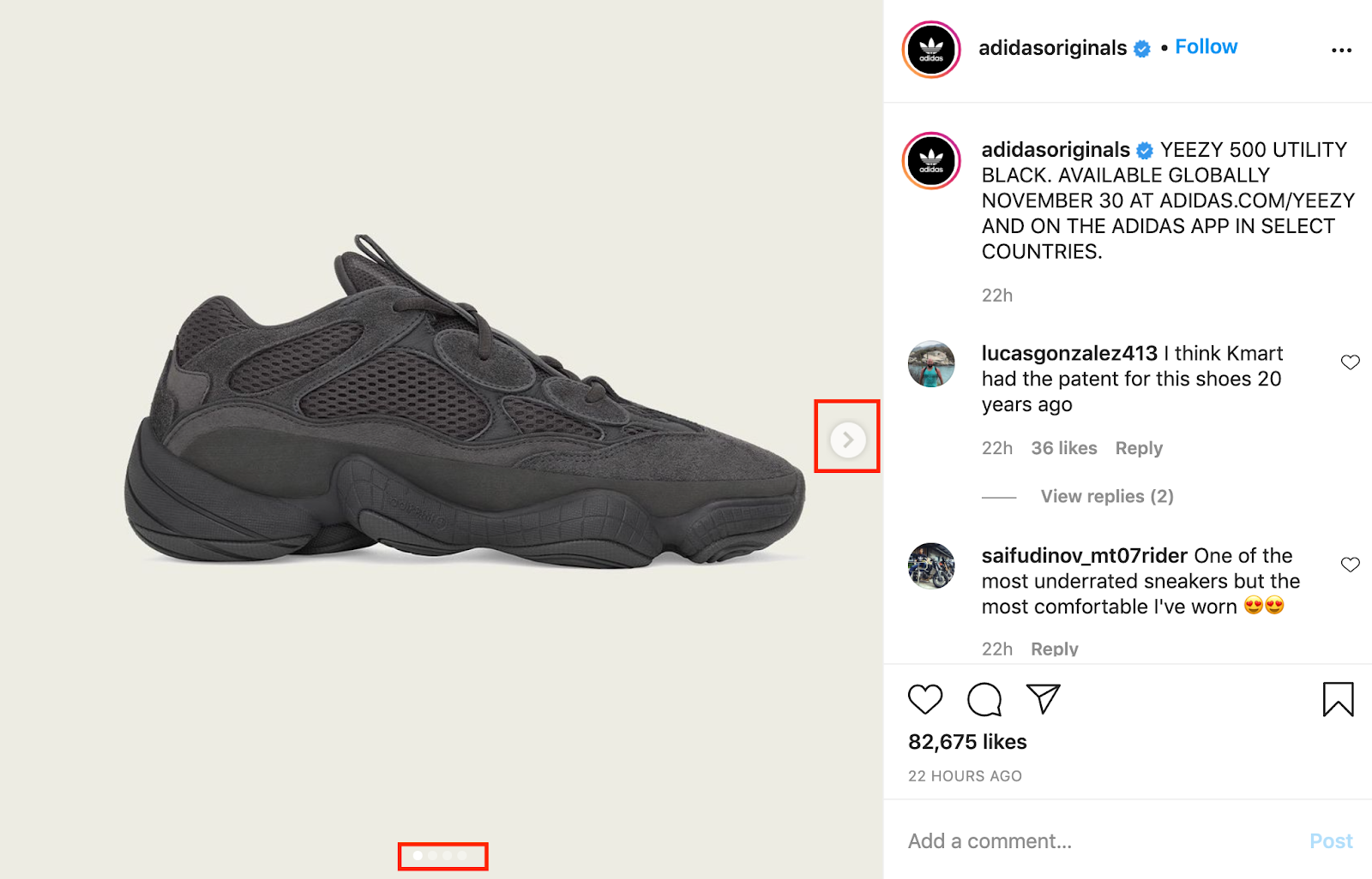 Example of Adidas carousel instagram post