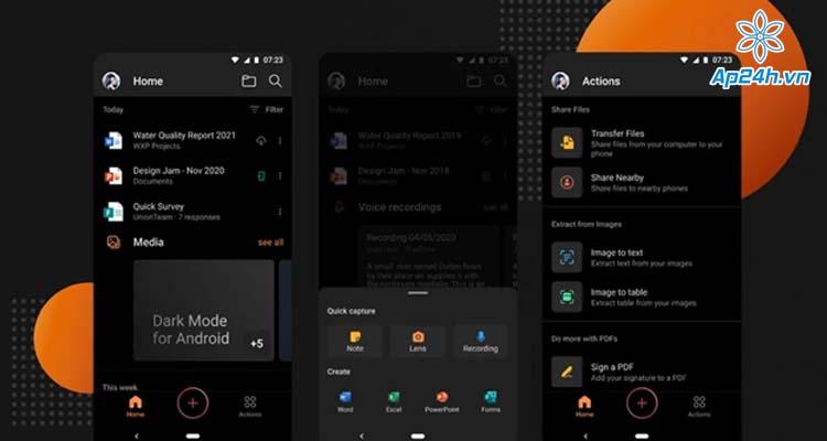 Chế độ tối Dark Mode của ứng dụng Office trên Android