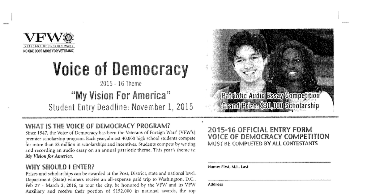 voice of democracy essay rules Checks and certificates are awarded to voice of democracy essay contest winners at delaware valley community rules apply to all content you upload or.