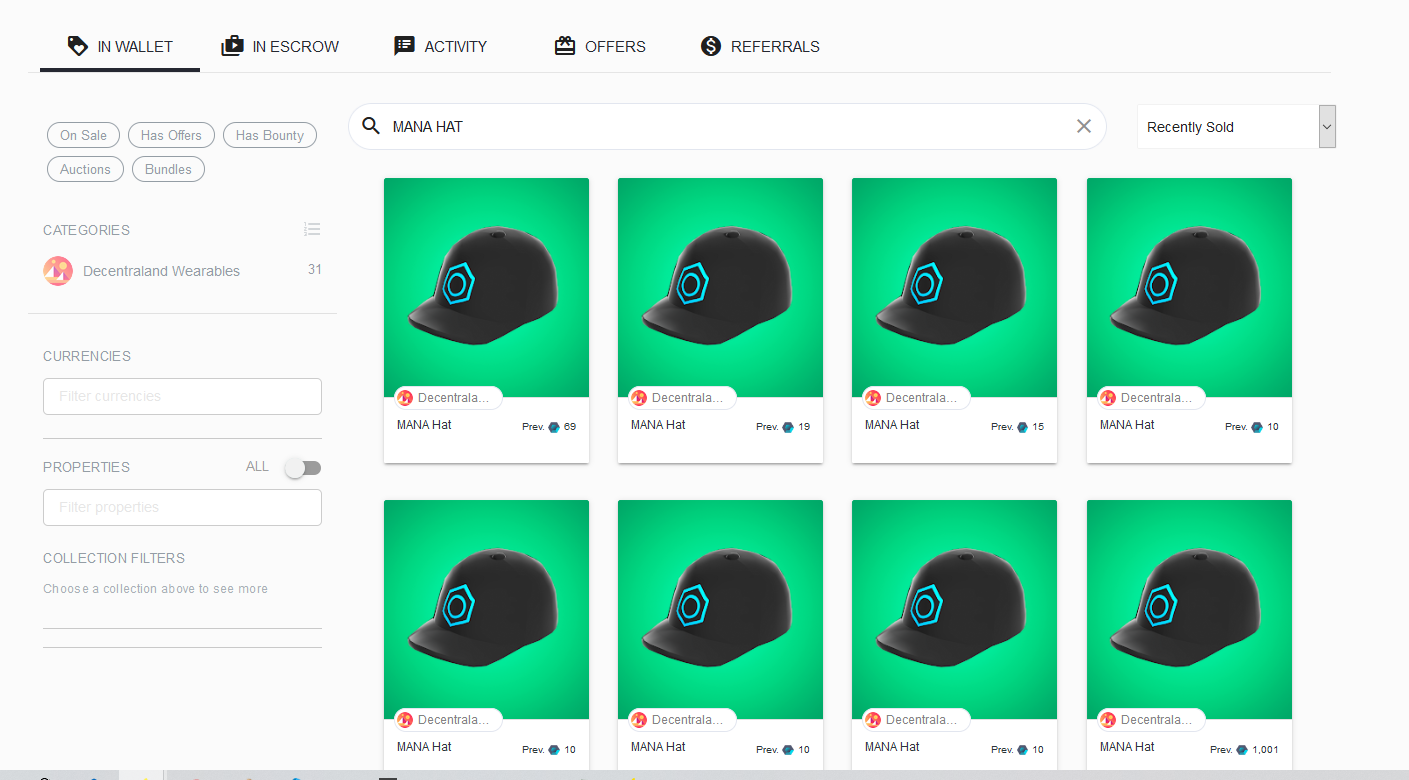 Decentraland Wearables OpenSea MANA Hat NFT