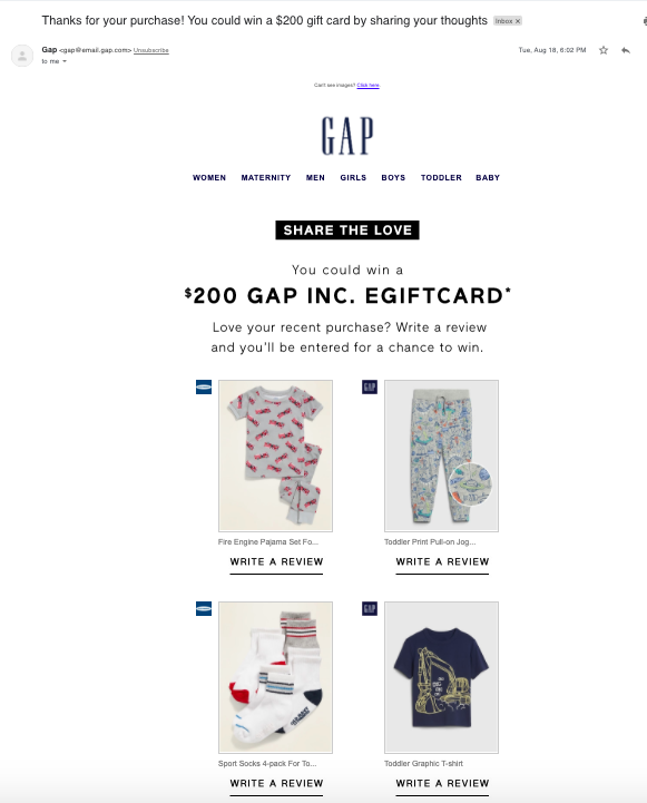 Gap review request email example