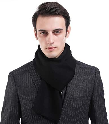 Wool Mens Scarf Black Cashmere Feel Warm Australian Wool Long Scarves for  Men with Gift Box(Black): Amazon.co.uk: Clothing