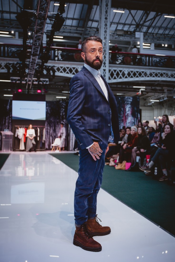Roberta Style Lee catwalk at Pure London | Sustainable Fashion Stylist | Model: Dan Pontarlier in blue suit and Timberland boots