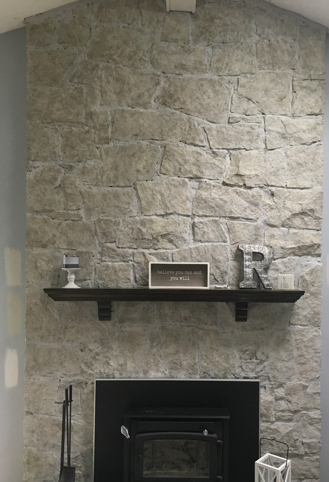 After Brick-Anew Paint Stone Fireplace