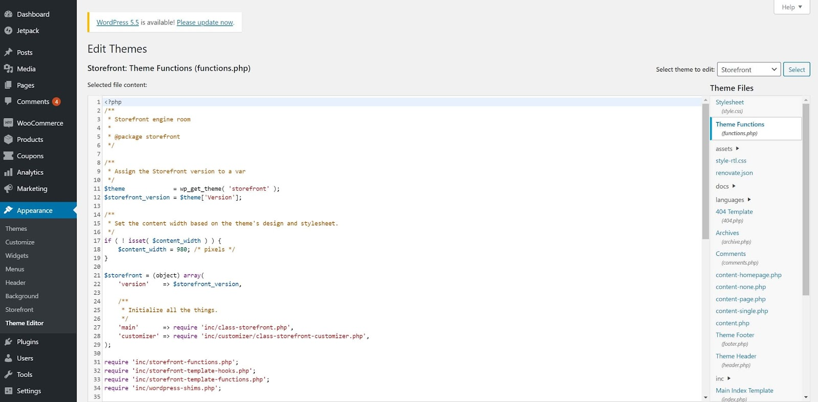 Screenshot showing how to add code to functions.php in WordPress theme editor