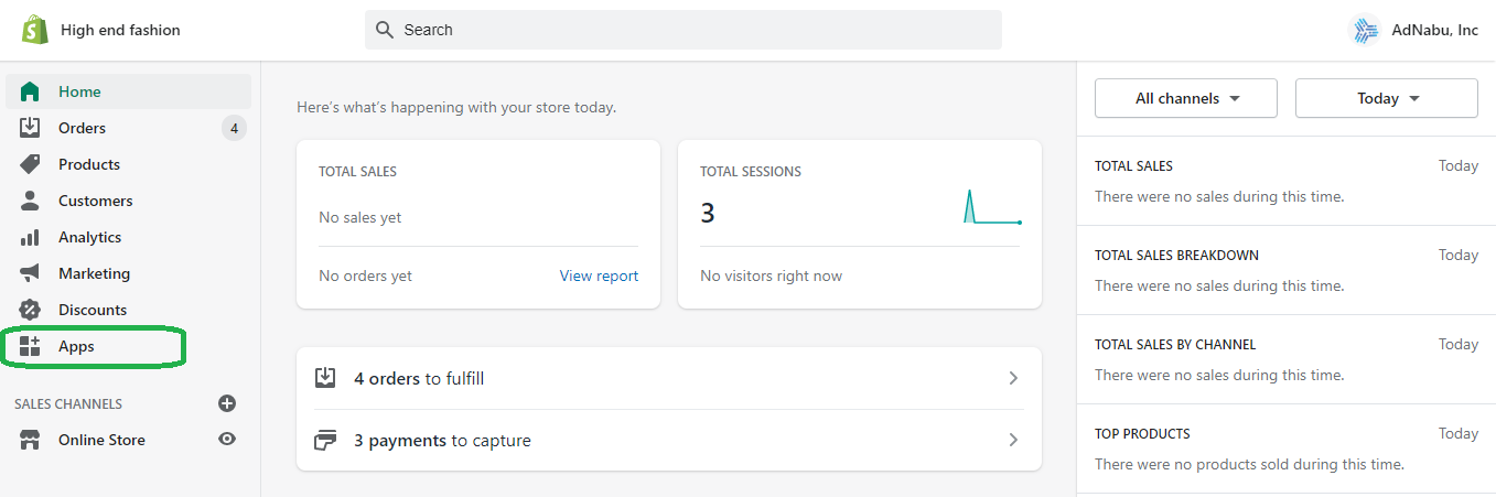 Apps in Shopify admin dashboard