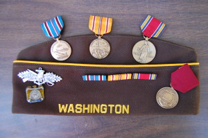 Red's VFW hat and some of his medals
