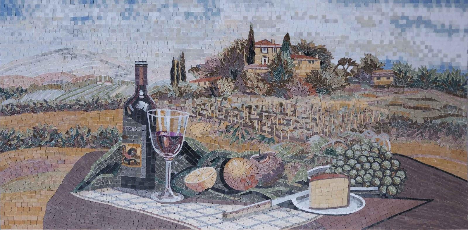 Vino e Frutta All'aperto Mosaic Mural by Mozaico
